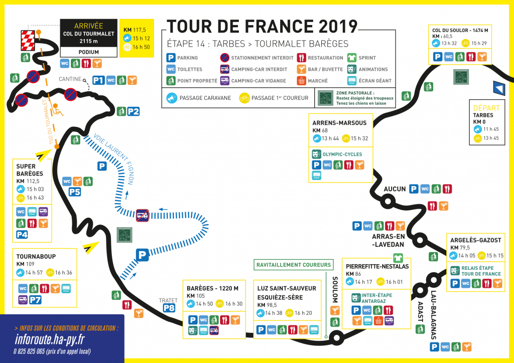 Conditions de circulation - Étape Tour de France Tarbes-Barèges